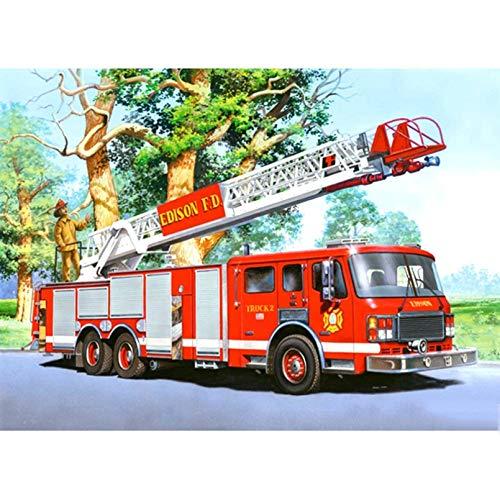 ZZMMYY Vollbohrmaschine 5D DIY Diamantmalerei Feuerwehrauto 3D Strass Stickerei Kreuzstich 5D Home Decor Geschenk-30x40cm