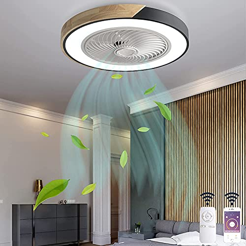 Empotrada Plafón de Madera LED Ventilador de techo con Luz Silencio Invisible Ventilador Lámpara con Mando a Distancia APP Regulable Viento Frío Fan Luces Negro para Dormitorios Salones Redondo VOMI