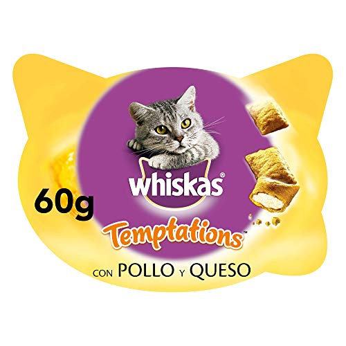 Whiskas Temptations Premios para Gatos sabor Pollo y Queso (pack de 8 x 60g)