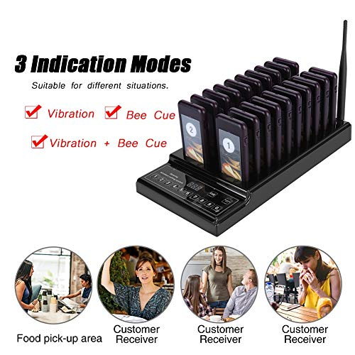 Ginyia Wireless Queue Calling System, Pager, Pager-System für Restaurant, für Beverage Shop für Restaurant(U.S. regulations)