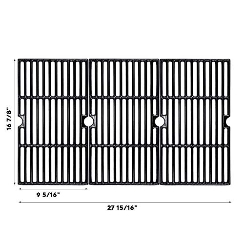 "BBQMall Porcelain Enameled Cast Iron Grill Cooking Grate for Charbroil 463420508, 463420509, 463420511, 463436213, 463436214, 463436215, 463440109, 463441312, 463441514, 463461613 Gas Grills, 16 7/8"" Grates Grids"