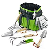 WORKPRO Garden Tools Set, 7 Piece, Stainless Steel Heavy Duty Gardening Tools with Wooden Handle, Including Garden Tote, Gloves, Trowel, Hand Weeder, Cultivator and More-Gardening Gifts For Women Men