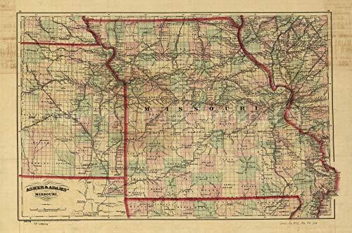 New York Map Company 1872 Landkarte mit Titel für kommerzielle und topografische Bahnfahrkarte & Anleitung von Missouri