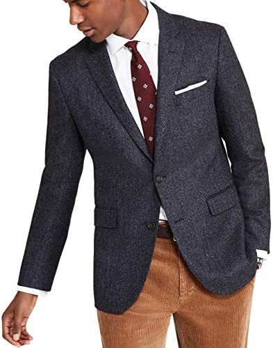 Brooks Brothers Mens 92493 Milano Slim Fit 2 Button Wool Cashmere Sports Coat Blazer Navy Blue Herringbone