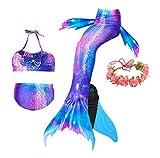 Guter Handwerker Mädchen Meerjungfrauenschwanz zum Schwimmen,Mermaid Tail, für Mädchen, Jungen, Kinder und Erwachsene Monofin Girlande INKLUSIVE (Perfekte Prinzessin, 130)