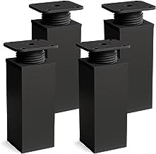 sossai® design meubelpoten MFV1 | set van 4 | in hoogte verstelbaar | Vierkant profiel: 40 x 40 mm | Kleur: zwart mat | Ho...