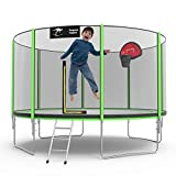 Kangaroo Hoppers 14 FT Trampoline for Kids and Family, Come with Enclosure Net,Basketball Hoop and Ladder,TUV & ASTM Tested -2020 Upgraded
