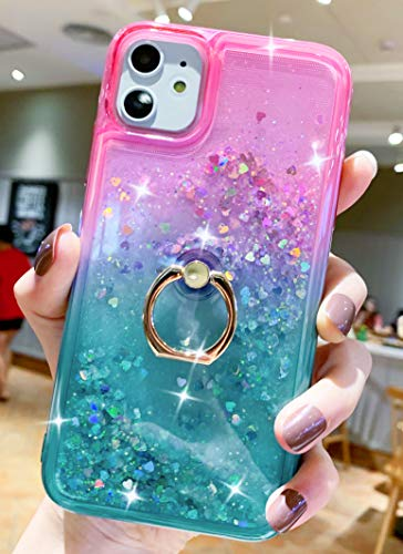 niufoey iPhone 11 Case,for Apple iPhone 11 Phone Case Glitter Sparkle Quicksand Liquid Floating Waterfall TPU Clear Back and Ring Holder Kickstand Cover for Women and Girls (Pink Green)