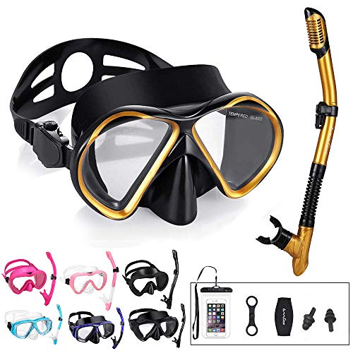 OMGear Snorkel Set Snorkeling Goggles Dry Snorkel with Neoprene Strap Waterproof Phone Case for Swimming Scuba Diving Freediving (Gold)