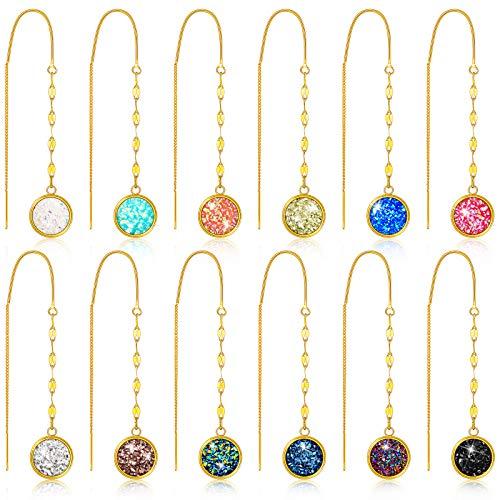 12 Pairs Faux Druzy Threader Earrings Crystal Dangle Long Chain Earrings Pull Through Dangle Earrings Colorful Druzy Drop Earrings Curved Ear Line Threader Earrings for Women