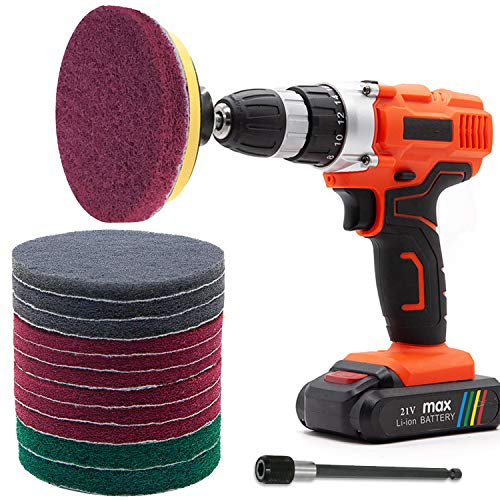 GOH DODD Power Scrub Pads Drill Attachment, 15 Pieces 5 Inch Cleaning Kit Scouring Pads with Baker and Universal Shaft Great for Kitchen, Bathroom, Auto, Grout, Carpet, Shower, Tub, Grill,Tile