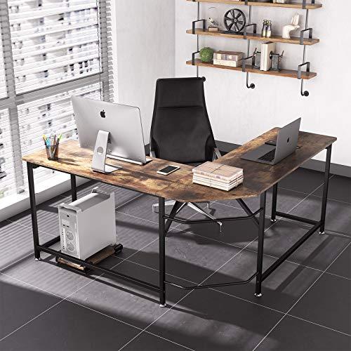 Dripex Corner Computer Desk, L Shaped Corner GamingDesk for PCwithCPU Stand- Rustic Brown