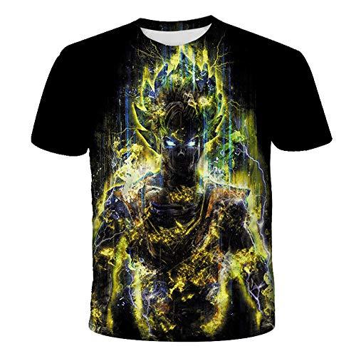PERRTWDLF Novedad Camiseta Dragon Ball Z Manga Corta Unisex impresión 3D Goku Camiseta Saiyan Hombre Mujer Verano Anime japonés Divertido Camiseta Adolescente Ropa deportiva-1106_XS
