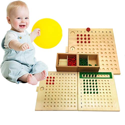 Kekailu Multiplication + Division Board,Montessori Multiplication Division Mathematics Wooden Board Kids Educational Toy