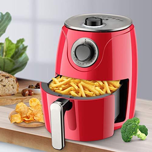Dytxe-shelf Heißluft-Fritteuse Öl- Und Fettfrei, 2.6Liter Fassungsvermögen, 30 Minuten-Timer Stufenlos Regelbarer Thermostat (90-200°C), Cool-Touch-Griff,Rot