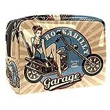 Bolsa de maquillaje portátil con cremallera, bolsa de aseo de viaje para mujeres, práctica bolsa de almacenamiento cosmético Pin Up Girl en motocicleta monocromo