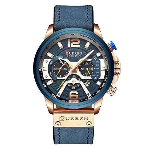 CURREN Herren Uhren,Multifunktionale Militär Sport Armbanduhr Casual wasserdicht Herrenuhr Chronograph Quarzuhr mit Lederarmband