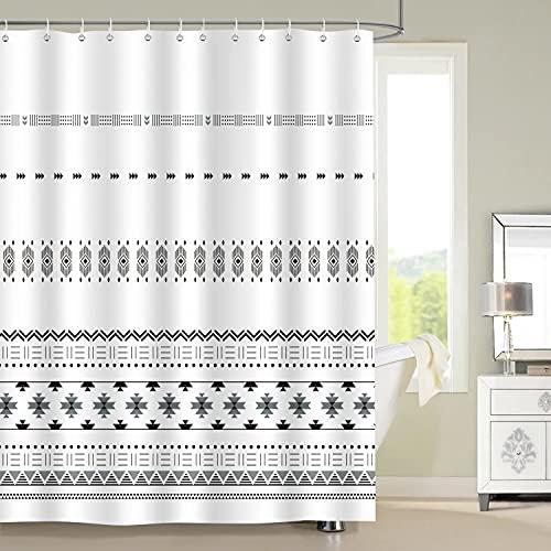 Bonhause Cortina de Ducha Geométrico Rayas Boho Blancas y Negras Cortina de Baño de Poliéster Impermeable Antimoho Cortina Ducha con 12 Ganchos 180 x 180 cm