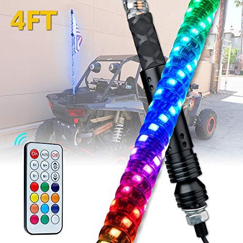 Xprite 4ft Spiral RGB Whip Light LED Dancing Flag Pole with Remote Control for Polaris RZR XP 1000, UTV, ATV, Yamaha, Can Am Maverick X3