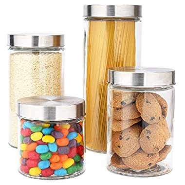 4-Piece Glass Canister Set with Stainless Steel Lids- 72/55/38/27 oz.