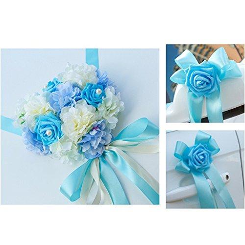 MagiDeal 5 Metros Kits de Decoración de Coche de Boda con Cintas Grandes de Flor Artificial 9 Colores - Azul