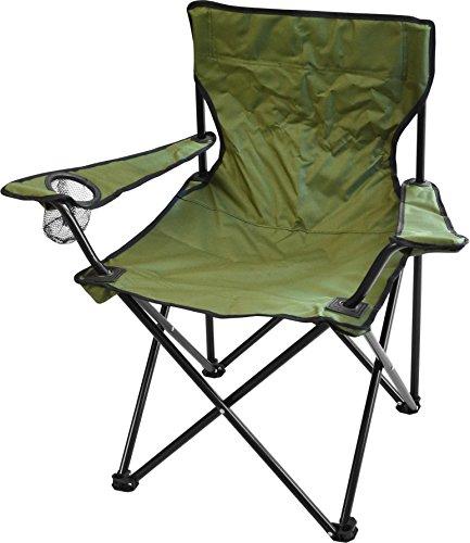 normani Campingstuhl Faltstuhl Klappstuhl Anglerstuhl Getränkehalter Stuhl Gartenstuhl bis 110 kg Farbe Oliv