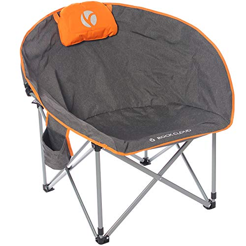 Rock Cloud Folding Camping Chair Oversized Padded Moon Round Saucer Chairs Outdoor for Camp Lawn...