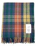 Manta de Tartan Tweeds, de lana tartán, alfombra para viajes y picnics, Antique Buchanan, talla única