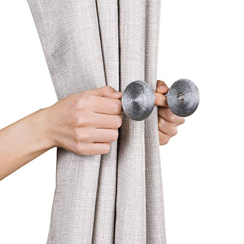 SCM Gardinen Raffhalter mit Magnetverschluss Magnetische Vorhang Dekoration Tiebacks, 4er-Pack (Grau)