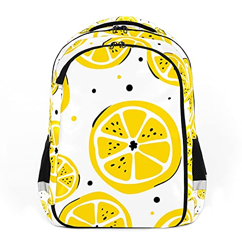 Mochila de niños unisex de dibujos animados estudiantes mochila mochila impermeable paquete preppy bolsa acuarela amarillo limón rebanadas