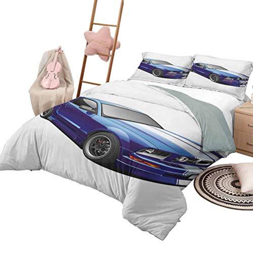 Juego de edredón Colcha para habitación para adolescentes Cubierta de cama para todas las temporadas American Auto Racing Theme Car Sports Competition Speed Winner Niños Niños Gráfico Queen Size Azu