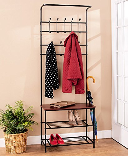 Hall Tree Coat Rack Bench with Shelf. Leave Your Shoes Here. This Entryway Furniture Will Organize Your Life. Guaranteed Organizing Storage Space Coat Racks Hooks Hangers Wood Metal Convenient Halltree Coatrack Benches Home Organization