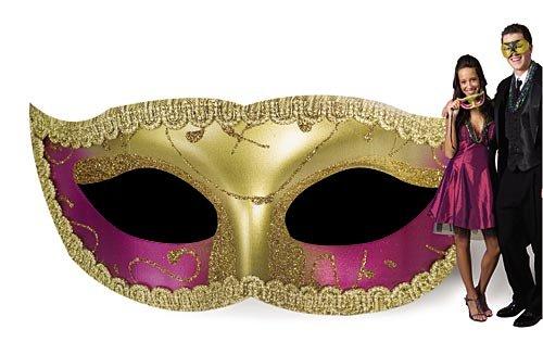 Glitter Masquerade Mask Mardi Gras Standee Standup Photo Booth Prop Background Backdrop Party Decoration Decor Scene Setter Cardboard Cutout