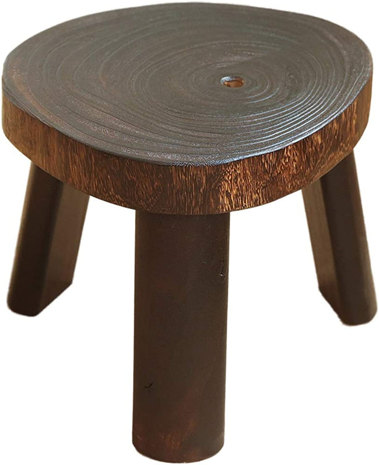 ZHAOYONGLI Stool Change shoes Bench Solid Wood Footstool Triangle Round Sofa Stool Home Multi-Function Stool Creative Solid Durable Long Lasting (color   Brown, Size   20-25  27.5cm)