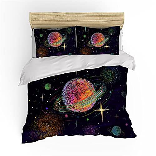 QXbecky Biancheria da letto Copripiumino Galaxy Universe Color Federa Set 2~3 pezzi Morbida microfibra spazzolata traspirante 260x220 cm