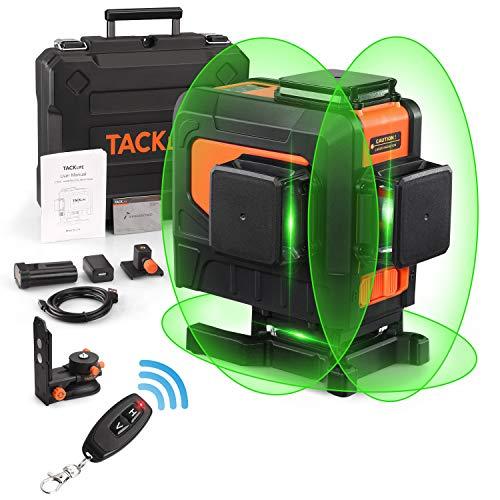 TACKLIFE 3D Nivel Láser Verde, 3 x 360° Profesional Línea Laser Autonivelante, 10M con Control Remoto, USB Carga, Modo de Pulso, Base Magnética Ajustable, 5200 mAh Batería Recargable -SC-L12