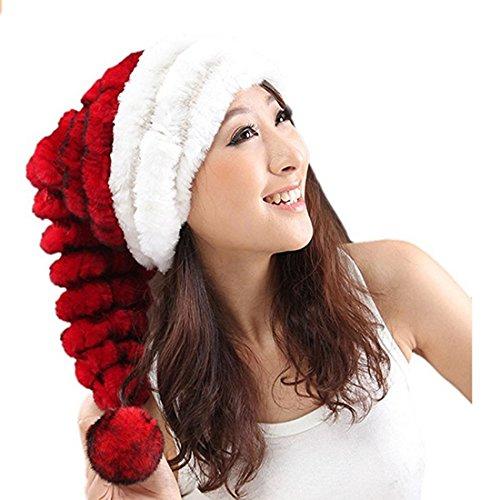 URSFUR Schöne Fellmütze Aus Rex Kaninchen mit Schöne Bommel Wintermütze Weihnachten Mütze Bommelmütze