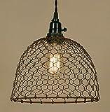 Chicken Wire Dome Pendant Light in Primitive Rust Finish