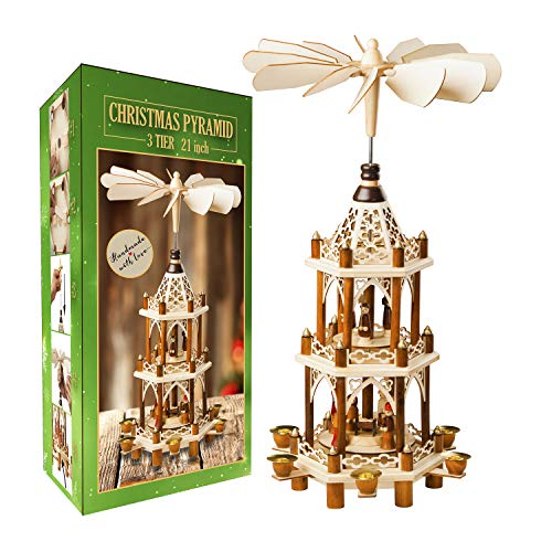 German Christmas Decoration Pyramid - 21 Inches - Wood Nativity Scene Set - Under the Christmas Tree and Table Top Holiday Decor - Nativity Play 3 Tiers Carousel with 6 Candle Holders - German Design
