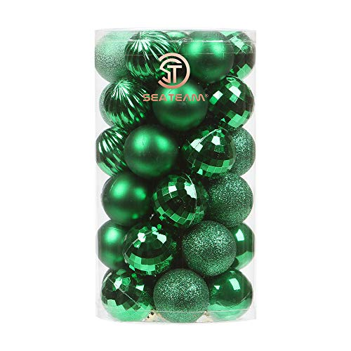 Sea Team 41-Pack Christmas Ball Ornaments with Strings, 40mm/1.57-Inch Small Size Baubles, Shatterproof Plastic Christmas Bulbs, Hanging Decorations for Xmas Tree, Holiday, Wedding, Party, Green