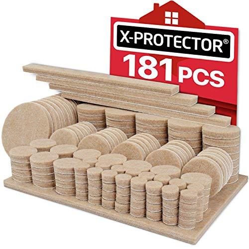 X-PROTECTOR Filzgleiter selbstklebend 181 Stück - Premium Filzgleiter Groß - Großpackung Möbelgleiter - verschiedene Größen - Möbel Filz selbstklebend für Möbelfüße - Schützen Sie Ihre Holzböden!