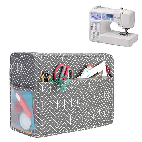 New Yarwo Sewing Machine Cover, Cotton Canvas Dust Cover with Pockets for Most Standard Sewing Machi...
