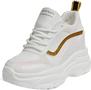 10519cfd9508b DOLDOA Baskets Compensées Femme Blanche en Mesh Chaussures de Running de  Dentelle Baskets Fitness de Décontracté