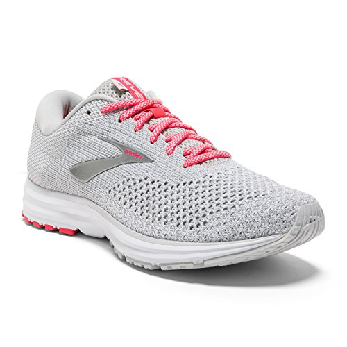Brooks Womens Revel 2 Running Shoe - Grey/White/Pink - B - 7.0
