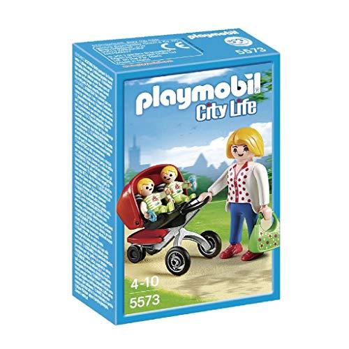 PLAYMOBIL Guardería - Mamá con Carrito de Gemelos, playset