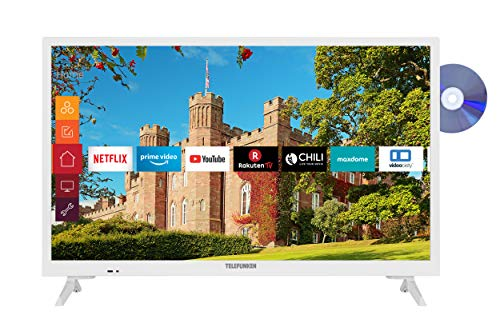 Telefunken XH24J501D-W 24 Zoll Fernseher (Smart TV inkl. Prime Video / Netflix / YouTube, HD ready, DVD-Player, Works with Alexa, Triple-Tuner) [Modelljahr 2020]