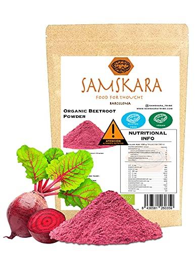 Remolacha en Polvo Ecolóogico   SAMSKARA SUPERFOODS   Organic Certified Beetroot Powder   BIO   Antioxidantes y fibra dietética (1 kg)