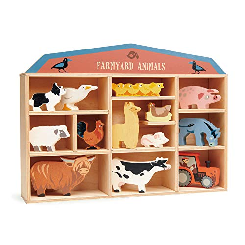 Tender Leaf Toys Farmyard Animals – 13 Wooden Country Farm Figurines with a Display Shelf - Classic Toy for Pretend Play – Develops Creative & Imaginative Skills – Learning Role Play – Ages 3+ Years