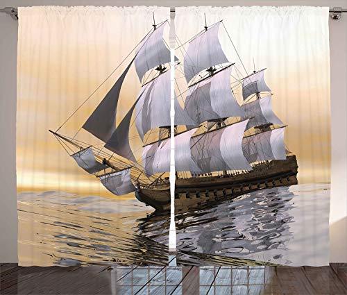 ABAKUHAUS maritim Rustikaler Gardine, Schiff Segeln auf Ozean, Schlafzimmer Kräuselband Vorhang mit Schlaufen und Haken, 280 x 245 cm, Mehrfarbig