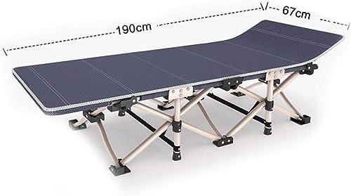 GLLT Chaises de lit Simples Se Pliant de Camp avec la Structure en métal d'oreiller de Sommeil 1200D Oxford Charge de Pied de lit de PE de Tissu jusqu'à 200 kilogrammes 190X67X35CM